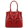TL141722 Leather Shoulder Bag - Red - Tuscany Leather Australia