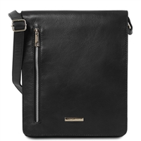 Tuscany Leather TL141723 Cesare Messenger Bag - Black