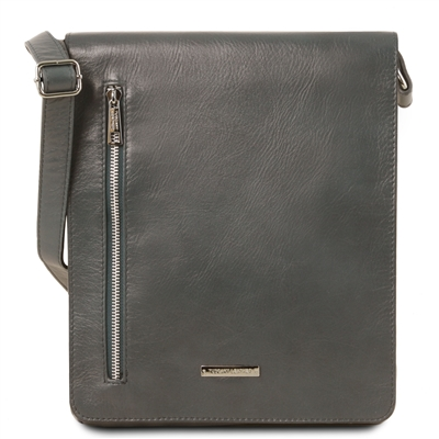 Tuscany Leather TL141723 Cesare Messenger Bag - Grey