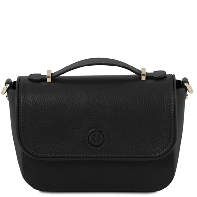 TL141684 Primula Black Leather Clutch Handbag by Tuscany Leather