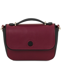 TL141684 Primula Bordeaux Leather Clutch Handbag by Tuscany Leather
