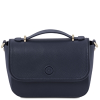 TL141684 Primula Leather Clutch Handbag in Dark Blue by Tuscany Leather