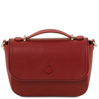 TL141684 Primula Red Leather Clutch Handbag by Tuscany Leather