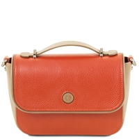 TL141684 Primula Leather Clutch Handbag in Brandy by Tuscany Leather