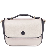 TL141684 Primula Leather Clutch Handbag in White by Tuscany Leather