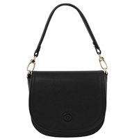 Tuscany Leather TL141726 Rosa Leather Shoulder Bag Black