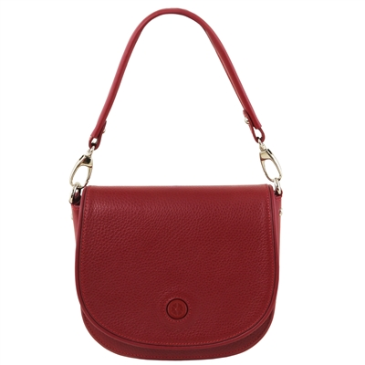 Tuscany Leather TL141726 Rosa Leather Shoulder Bag Red