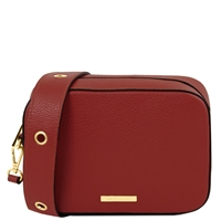 TL1733 Hammered Leather Shoulder Bag - Red by Tuscany Leather