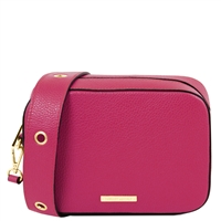 TL1733 Hammered Leather Shoulder Bag - Magenta by Tuscany Leather