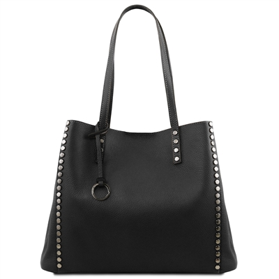 TL141735 Soft Leather Shopping Bag- Black
