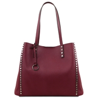 TL141735 Soft Leather Shopping Bag- Bordeaux