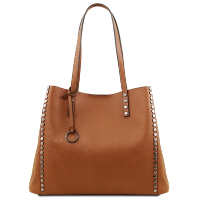 TL141735 Soft Leather Shopping Bag- Cognac