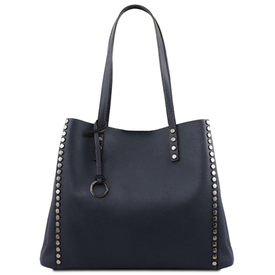 TL141735 Soft Leather Shopping Bag- Dark Blue