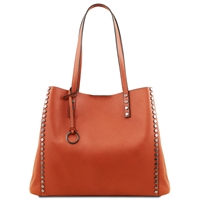 TL141735 Soft Leather Shopping Bag- Brandy