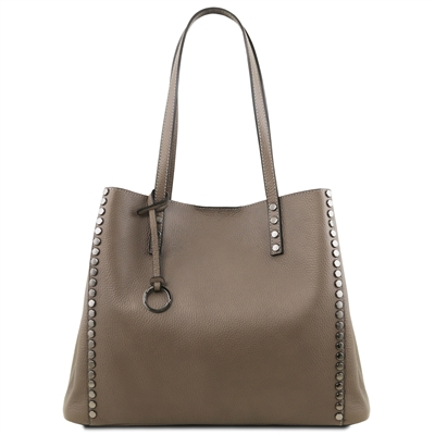 TL141735 Soft Leather Shopping Bag- Taupe