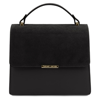 Irene Leather Handbag - Black by Tuscany Leather