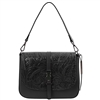 Tuscany Leather TL141755 Nausica Floral Leather Shoulder Bag - Black