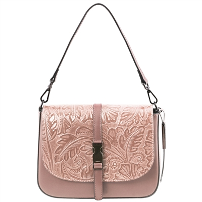 Tuscany Leather TL141755 Nausica Floral Leather Shoulder Bag - Nude