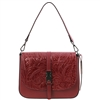 Tuscany Leather TL141755 Nausica Floral Leather Shoulder Bag - Red