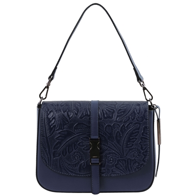 Tuscany Leather TL141755 Nausica Floral Leather Shoulder Bag - Blue