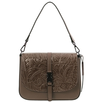 Tuscany Leather TL141755 Nausica Floral Leather Shoulder Bag - Taupe