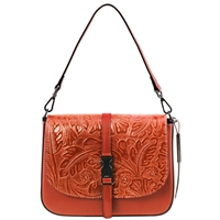 Tuscany Leather TL141755 Nausica Floral Leather Shoulder Bag - Brandy