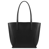 Tuscany Leather TL14170 Nemesi Leather Shopping Bag - Black
