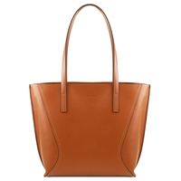 Tuscany Leather TL14170 Nemesi Leather Shopping Bag - Cognac