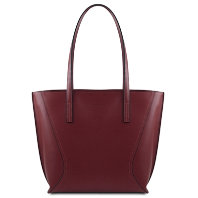 Tuscany Leather TL14170 Nemesi Leather Shopping Bag - Bordeaux