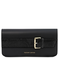 TL141814 Demetra Leather Clutch Bag - Black
