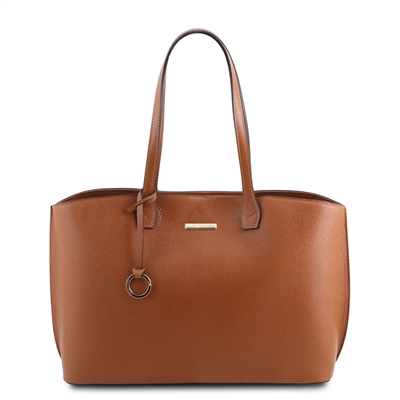 Tuscany Leather Hammered Leather Shopper Bag - Cognac | Leather Bags | Australia