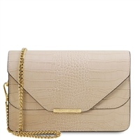 Hera Beige Leather Clutch by Tuscany Leather Australia