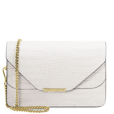 Hera White Leather Clutch by Tuscany Leather Australia