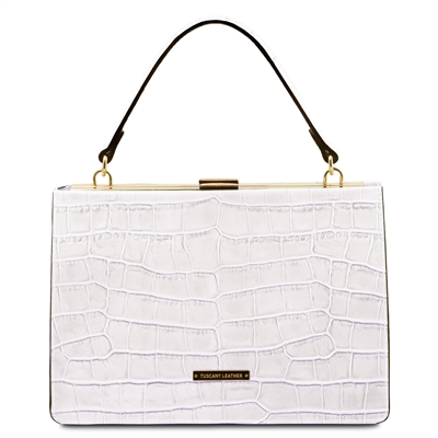 Iris White Leather Handbag by Tuscany Leather Australia