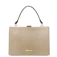 Iris Beige Leather Handbag by Tuscany Leather Australia