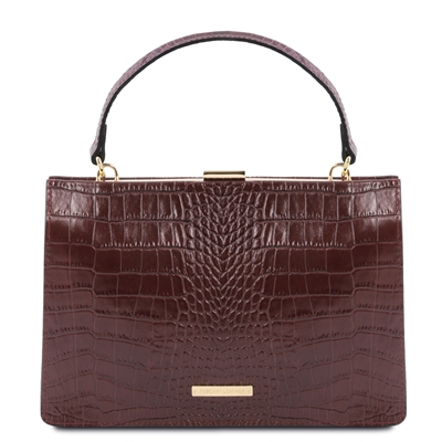 Iris Leather Handbag - Bordeaux by Tuscany Leather | Handbags | Australia