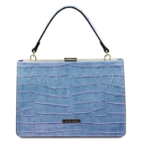 Iris Leather Handbag - Azure Blue by Tuscany Leather | Handbags | Australia