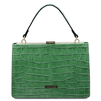 Iris Leather Handbag - Green by Tuscany Leather | Handbags | Australia