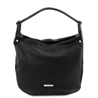 Tuscany Leather TL141855 Soft Leather Hobo Bag - Black | Leather Bags | Australia