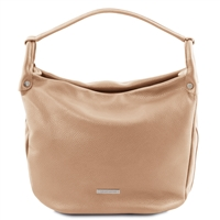 Tuscany Leather TL141855 Soft Champagne Leather Hobo Bag - Cognac | Leather Bags | Australia