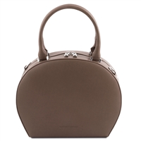 Ninfa Dark Taupe Leather Handbag by Tuscany Leather | Handbags Australia