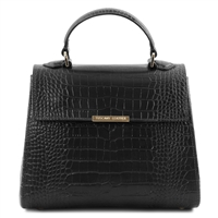 Croc Print Leather Handbag- Black by Tuscany Leather | Handbags Australia