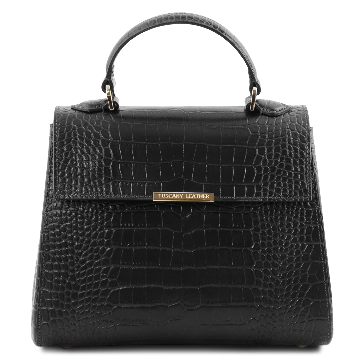 Croc Print Black Leather Handbag