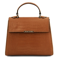 Croc Print Leather Handbag- Cinnamon by Tuscany Leather | Handbags Australia