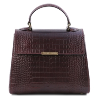 Croc Print Leather Handbag- Bordeaux by Tuscany Leather | Handbags Australia