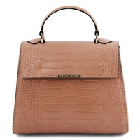 Croc Print Leather Handbag- Nude by Tuscany Leather | Handbags Australia