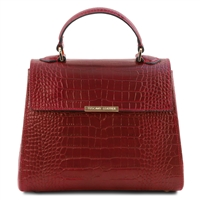 Croc Prin tRed  Leather Handbag by Tuscany Leather | Women's Handbags Australia