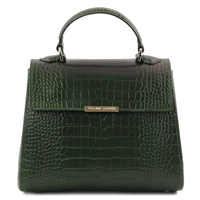 Croc Print Leather Handbag- Green by Tuscany Leather | Handbags Australia