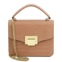 Croc Print Mini Bag in Nude by Tuscany Leather | Women's | Handbags | Australia