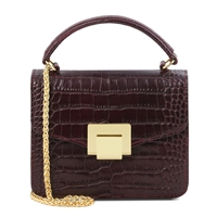 Croc Print Mini Bag in Bordeaux by Tuscany Leather | Women's | Handbags | Australia